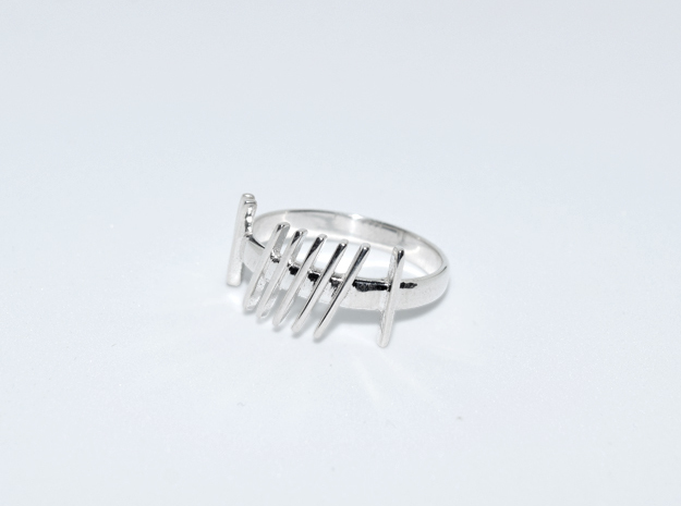 Ogham Gra Ring  in Fine Detail Polished Silver: 4.75 / 48.375