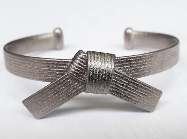 Martial Arts Belt Bracelet in Polished Nickel Steel