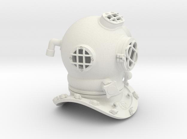 Diving Helmet in White Natural Versatile Plastic