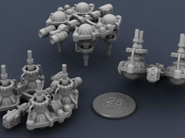 Fuel Refinery Ship 3d printed Rendering of the model from various viewpoints, with a virtual quarter for scale.