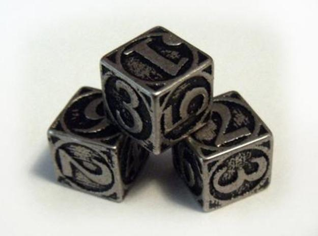 Circle Theme Die6 in Polished Bronzed Silver Steel