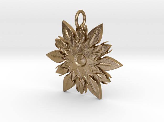 Elegant Chic Flower Pendant Charm in Polished Gold Steel