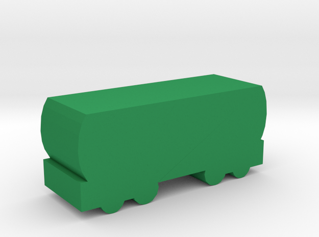 Game Piece, Freight Train Tanker Car in Green Processed Versatile Plastic