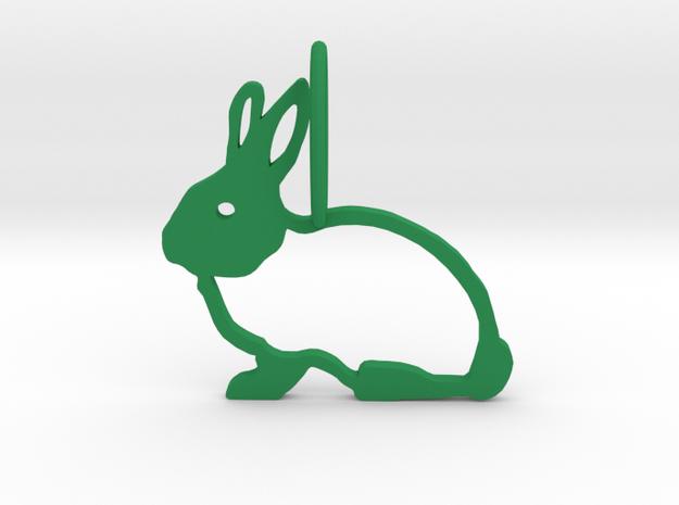 Cute Rabbit in Green Processed Versatile Plastic