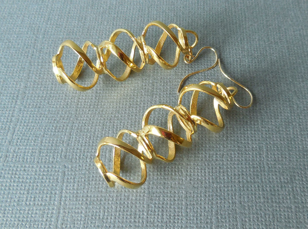 Swirl 3 - Pair of earrings in metal in 18k Gold Plated Brass