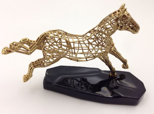 Year of the Horse- Freedom 3d printed Actual Photograph - Gold Plated and 3D printed Ceramic Base