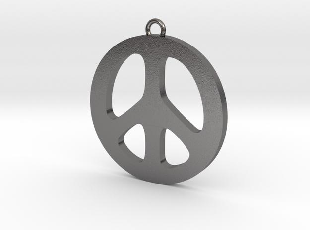 Peace Pendant in Polished Nickel Steel