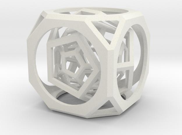 Multi-layer hollow polyhedron in White Natural Versatile Plastic: Medium