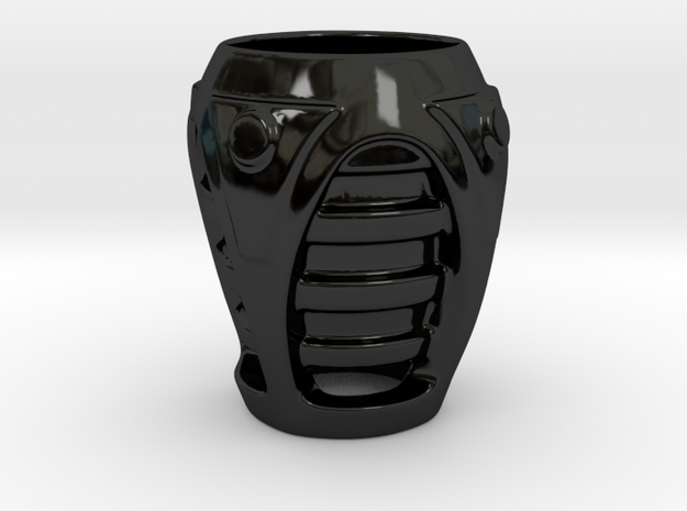 Sci-fi cup 02 in Gloss Black Porcelain