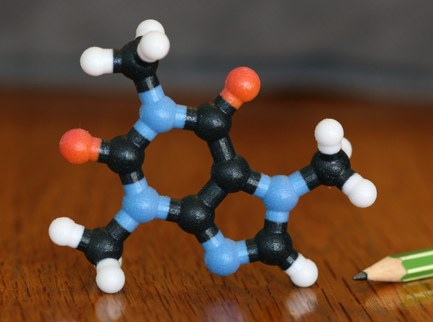 Caffeine Molecule Model, 3 Size Options in Full Color Sandstone: 1:10