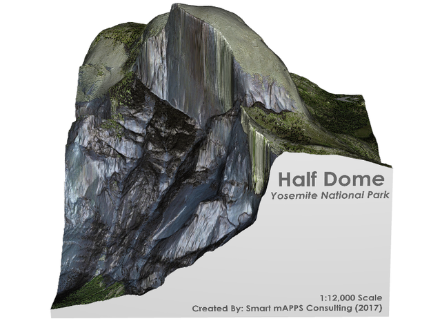 Yosemite - Half Dome Map: 6 inch in Matte Full Color Sandstone