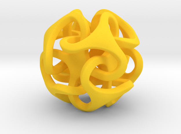 Interlocking Ball based on Octahedron in Yellow Strong & Flexible Polished