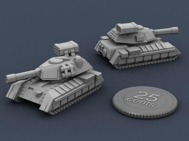 Terran Main Battle Tank 3d printed Render of the tank, plus a virtual quarter for scale.