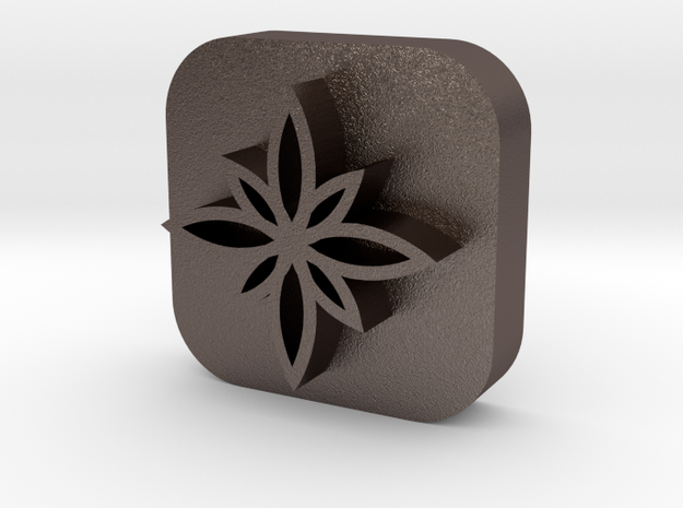 Flower-stamp-3 in Polished Bronzed Silver Steel