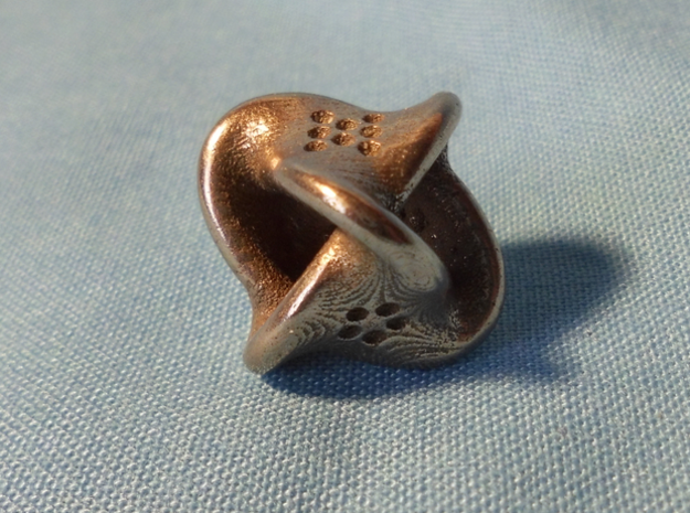 Unusual twisted D8 (bumps inside) in Polished Bronzed Silver Steel: Extra Small