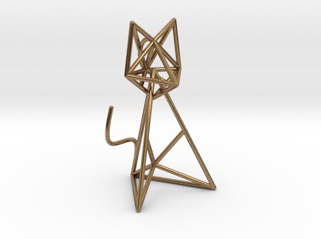 Wireframe Cat in Interlocking Raw Brass