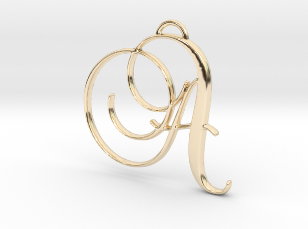 Elegant Script Monogram A Pendant Charm in 14k Gold Plated Brass