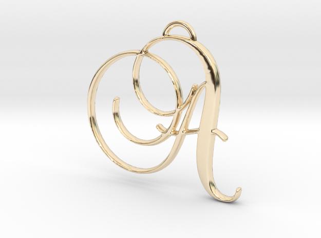 Elegant Script Monogram A Pendant Charm in 14k Gold Plated