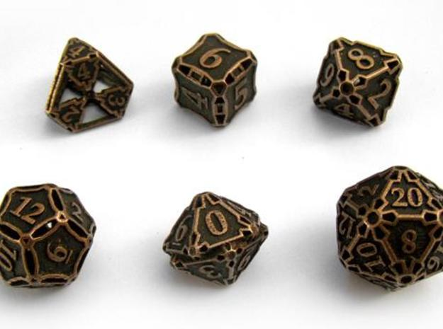 Large Dice Set 3d printed In antique bronze glossy and inked