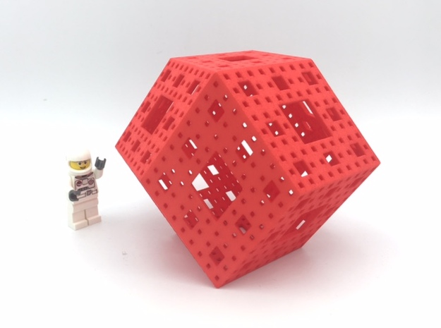 Rhombic Dodecahedron Menger Frame in Red Strong & Flexible Polished