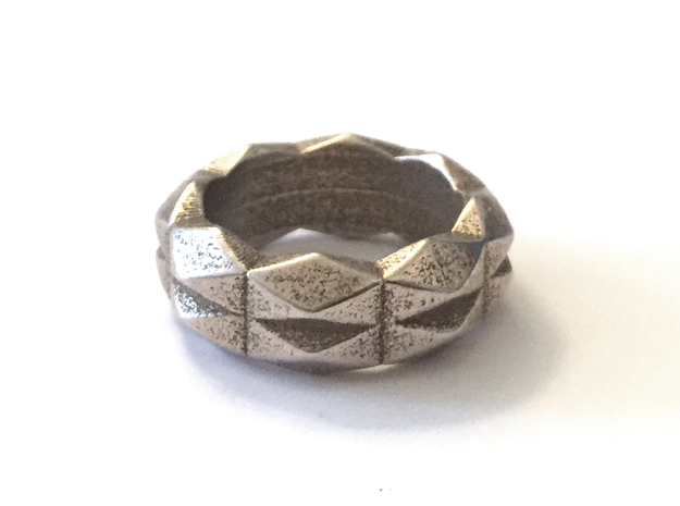 Chunky Geometric Band in 3D Printed Steel in Polished Bronzed Silver Steel: 5 / 49