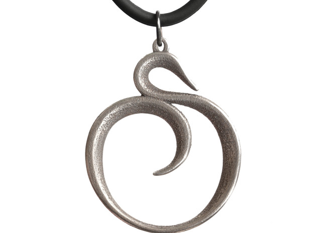 The Spiral Pendant 3d printed Printed in Stainless Steel (no chain or jump ring included).