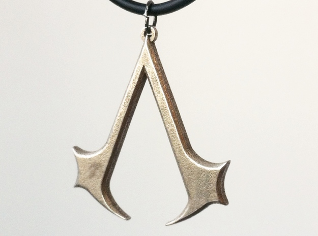 Assassins Necklace Pendant - 1 1/2 Inch in Polished Bronzed Silver Steel