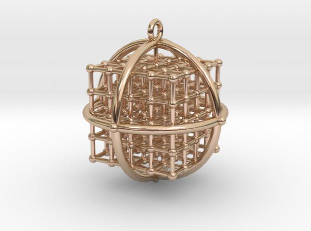 4x4x4 Medicine Cube pendant 34mm v.2 in 14k Rose Gold Plated