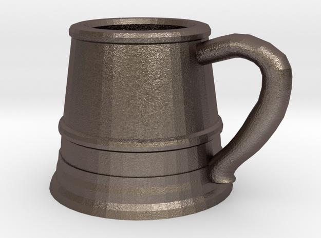 Tankard Pendant/Keychain in Polished Bronzed Silver Steel