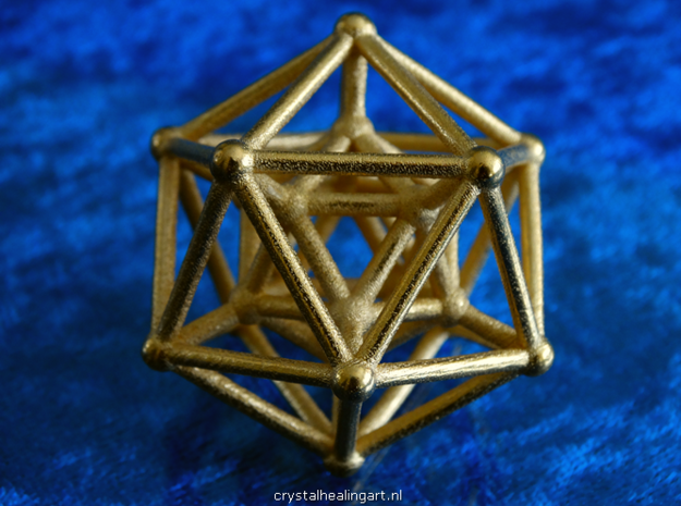 Hyper Icosahedron in Polished Gold Steel