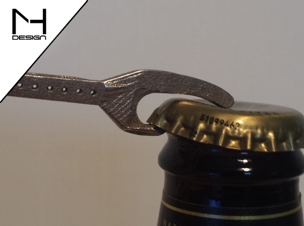 Little Bottle Opener 3d printed Stainless Steel