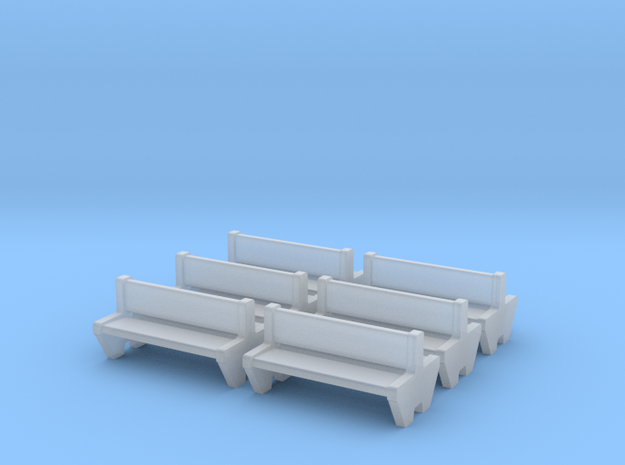 TJ-H04555x6 - bancs de quai en beton, doubles in Smooth Fine Detail Plastic