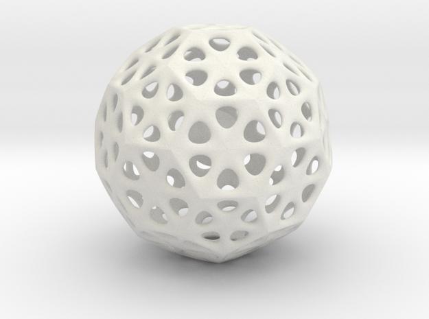 Mystic Icosahedron, Enclosing Small Solid Sphere in White Natural Versatile Plastic