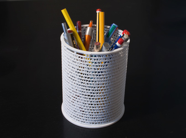 Pi Pen Holder large in White Natural Versatile Plastic