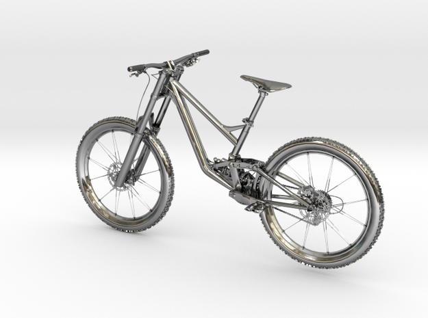 "MyTinyBikes Model ""Downhill Cross"" in Fine Detail Polished Silver"