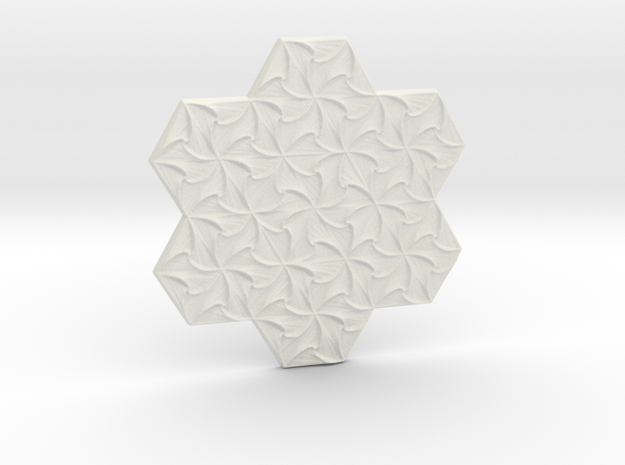 Hexagonal Spirals - Large Miniature in White Natural Versatile Plastic