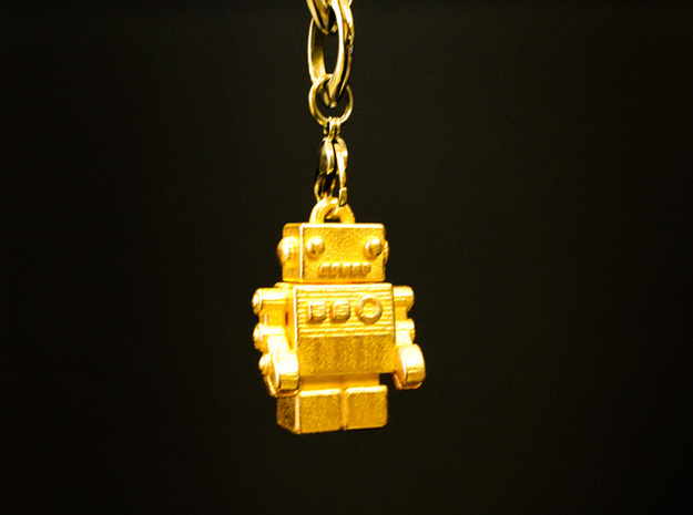 """Bling Bob"" Gold Pendant Robot in Polished Gold Steel"