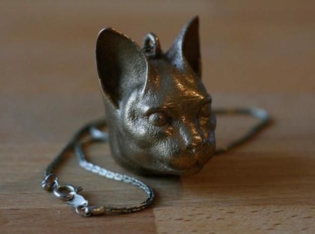 Cat Head jewel 3d printed Stainless Steel