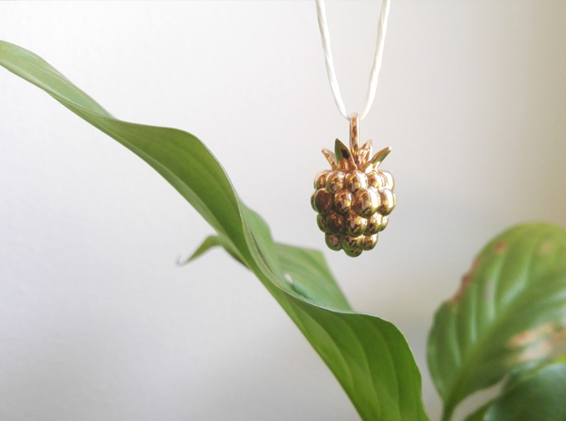 Raspberry pendant in Polished Bronze