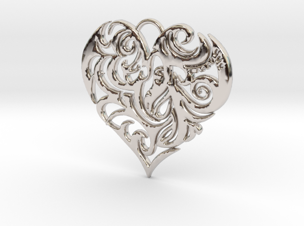 Beautiful Romantic Floral Heart Pendant Charm in Rhodium Plated