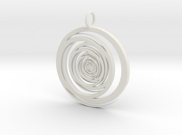Abstract Vortex Swirl Pendant Charm in White Natural Versatile Plastic
