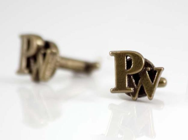 Custom cufflink nr.5 in Polished Bronze Steel