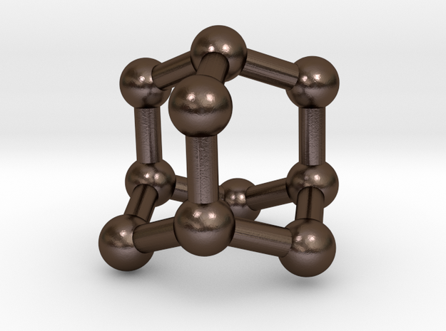 0628 Adamantane (Ball-and-stick model without H) in Polished Bronze Steel