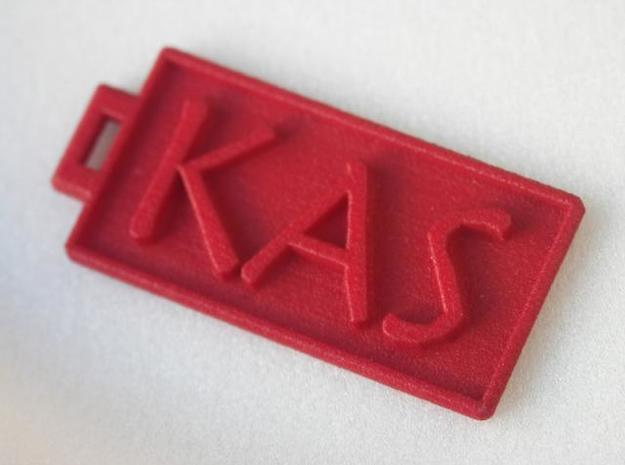 KAS Dogtag 3d printed White Detail coloured with red fabric dye.