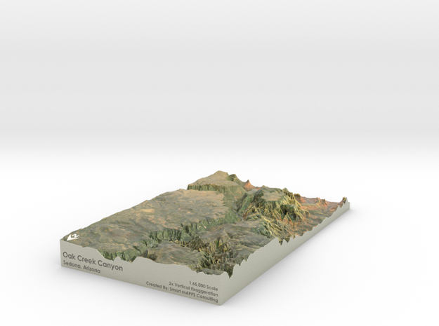 """Oak Creek Canyon Map: 7""""x12"""" in Coated Full Color Sandstone"""