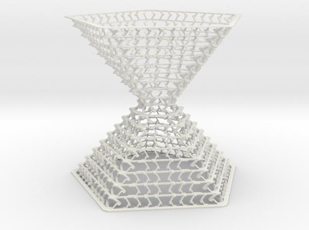 Double Pentagonal Pyramid Staggered Desktop Decor  in White Natural Versatile Plastic