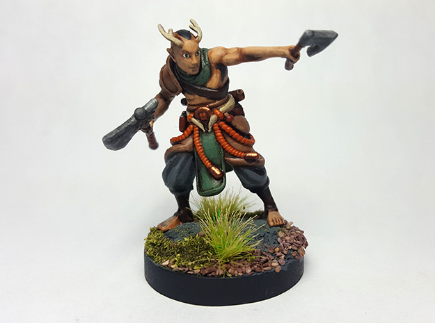 Elf w/ Axes in Smooth Fine Detail Plastic