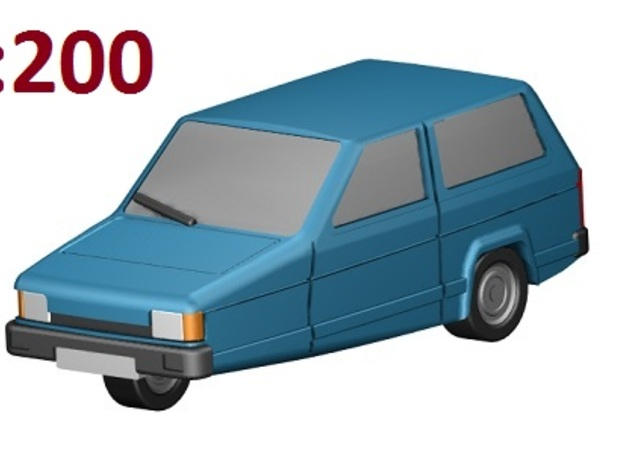 Reliant Robin (1:200) 3d printed