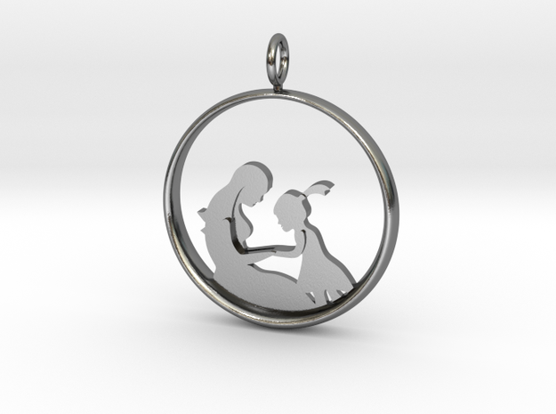 Mother & Daughter Pendant 2 -Motherhood Collection in Polished Silver