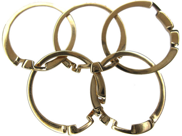 Olympic Puzzle Ring metal in Interlocking Polished Brass